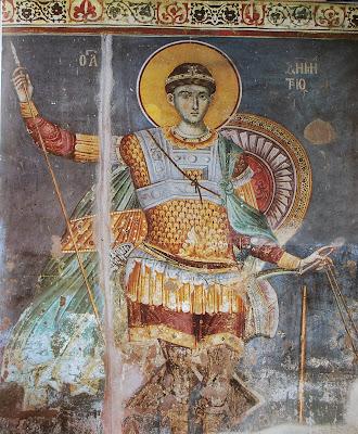 Saint Demetrius of Protat - Fresco of St. Demetrios by Manuel Panselinos in the Church of Protaton on Mount Athos