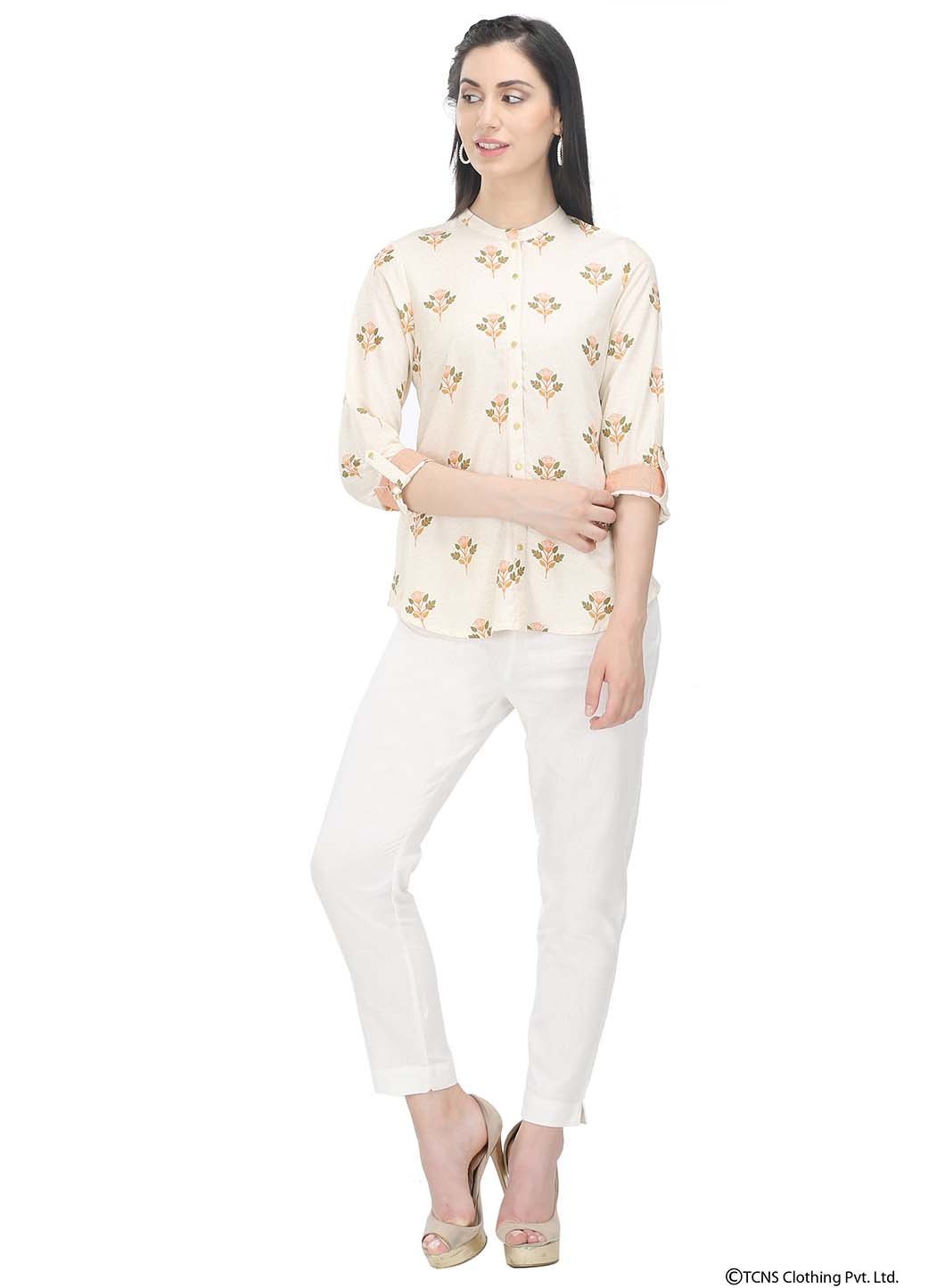 292f40fe4477b Mandarin Neck tops are an apt choice for formal wear when you are too bored  of the blazers and formal shirts. When paired with trousers or palazzo  pants ...