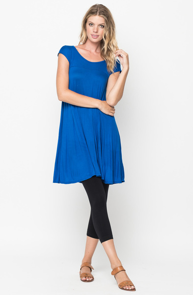 Buy Now Royal blue Jersey Scoop Neck Cap Sleeve Dress Tunic Online -Final Sale- $20 -@caralase.com