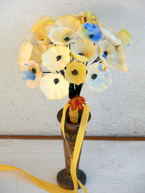 bouquet di fiori di carta per matrimonio ecologico in stile acquerello