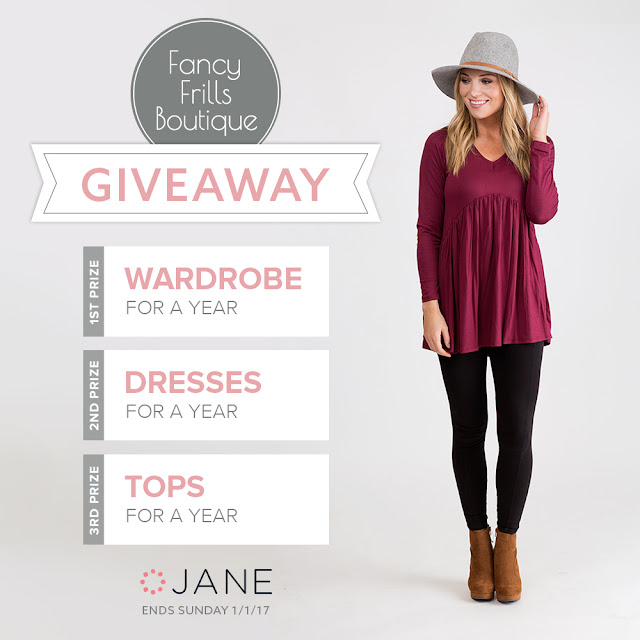 Jane.com is wrapping up 2016 with the BEST giveaway ever! They want you to ring in 2017 by entering to win a new wardrobe for the new year from Fancy Frills Boutique!