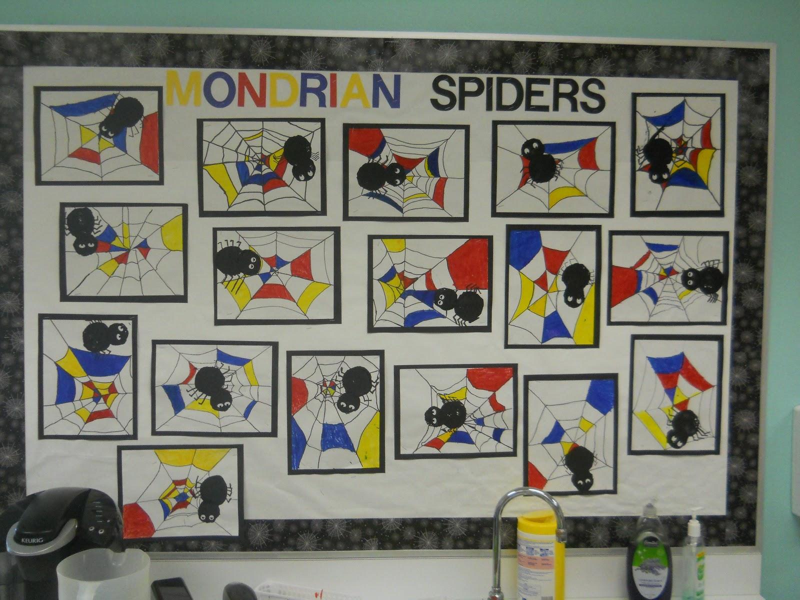 Mrs T S First Grade Class Mondrian Spider Art