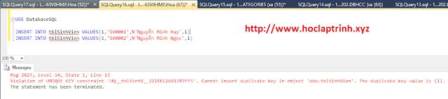 SQL Server: Ràng buộc UNIQUE trong SQL Server (UNIQUE constraint)