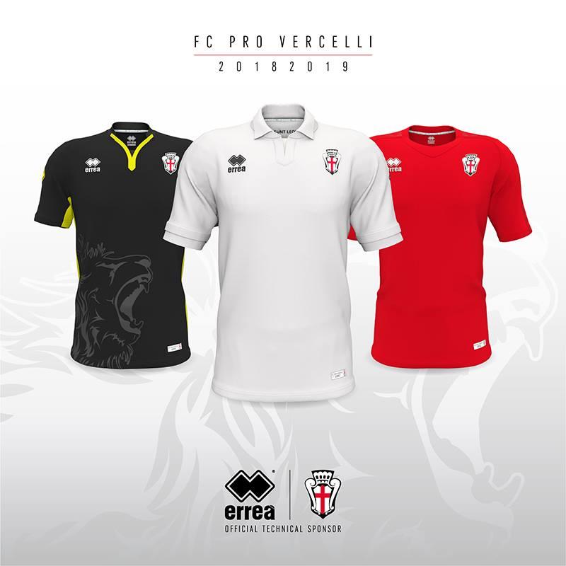 df4dfaa23 Passionale e retrò la terza (rossa), queste sono le nuove maglia della F.C.  Pro Vercelli 1892 serie B 2018/2019 firmate Errea ...