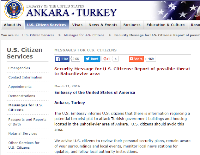 "US embassy in Ankara warned its citizens on 11 March of a ""potential terrorist plot"" in the city."
