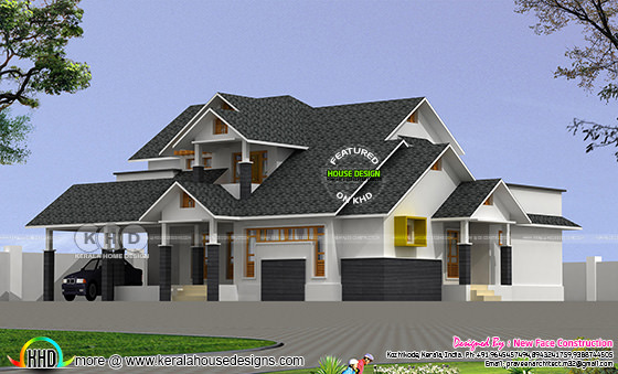 2892 square feet sloping roof house plan