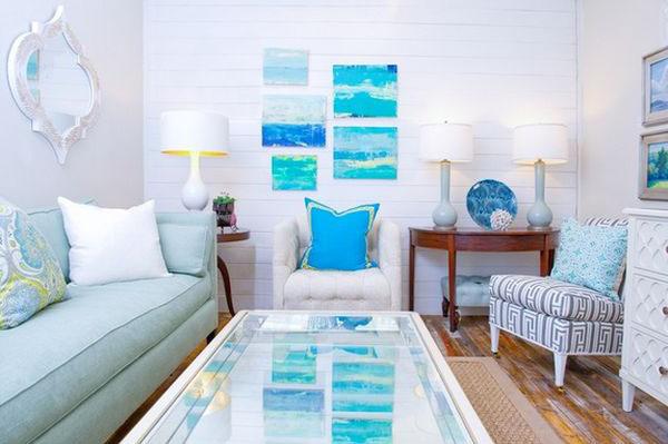 beyaz mavi küçük oturma odası dekorasyonu