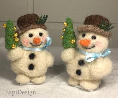 lumiukko neulahuovutettu figuuri joulu SapiDesign