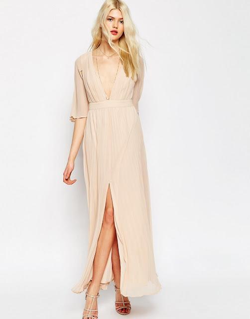 beige pleated maxi dress