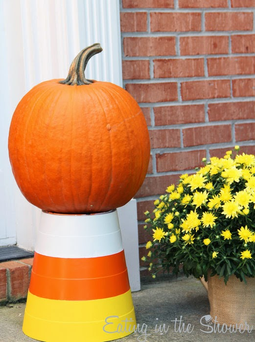 Trash Can Candy Corn Pumpkin Stand