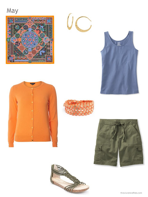 how to wear orange, denim blue and olive green in warm weather