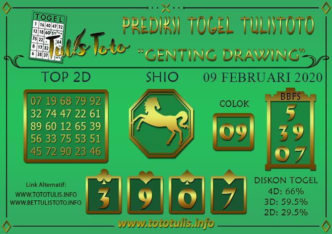 Prediksi Togel GENTING DRAWING TULISTOTO 09 FEBRUARI 2020