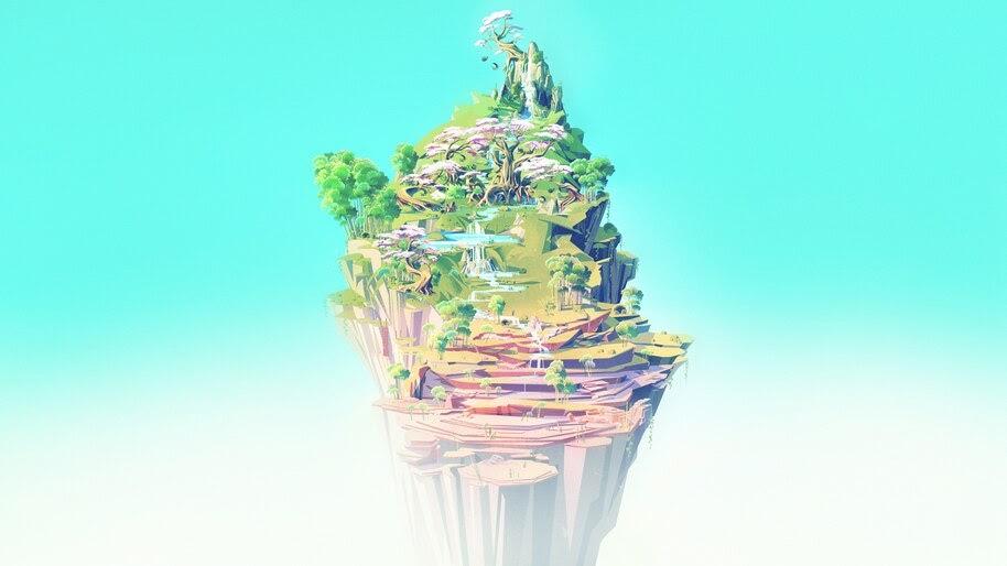 Fantasy, Island, Digital Art, Nature, 4K, #4.2000