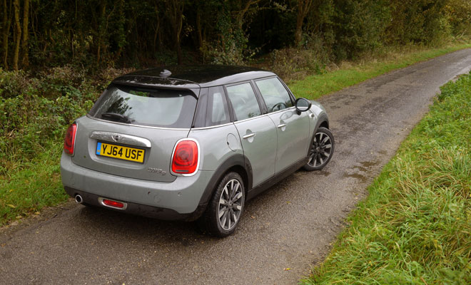 Mini Cooper D five-door viewed from the back