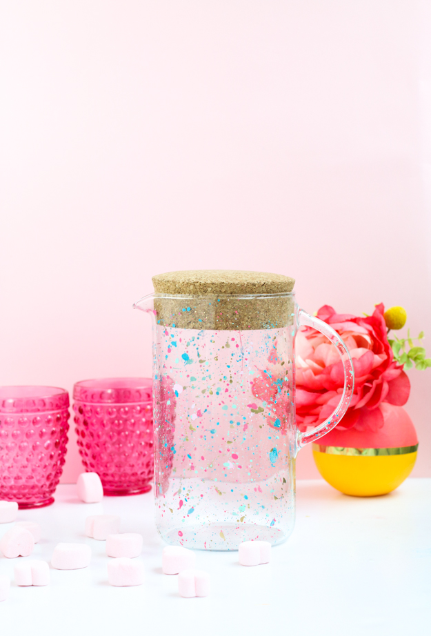 DIY Splatter Painted Pitcher - How to DIY your own home decor with splatter paint - Ikea - Modern craft idea - hostess gift - target style threshold -