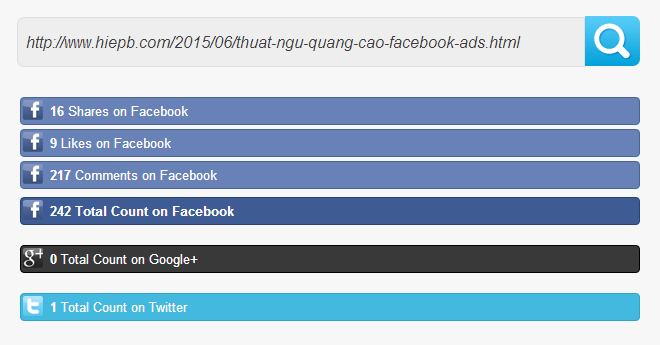 Kiểm tra lượt like, lượt share bài viết lên Facebook và các mạng xã hội khác