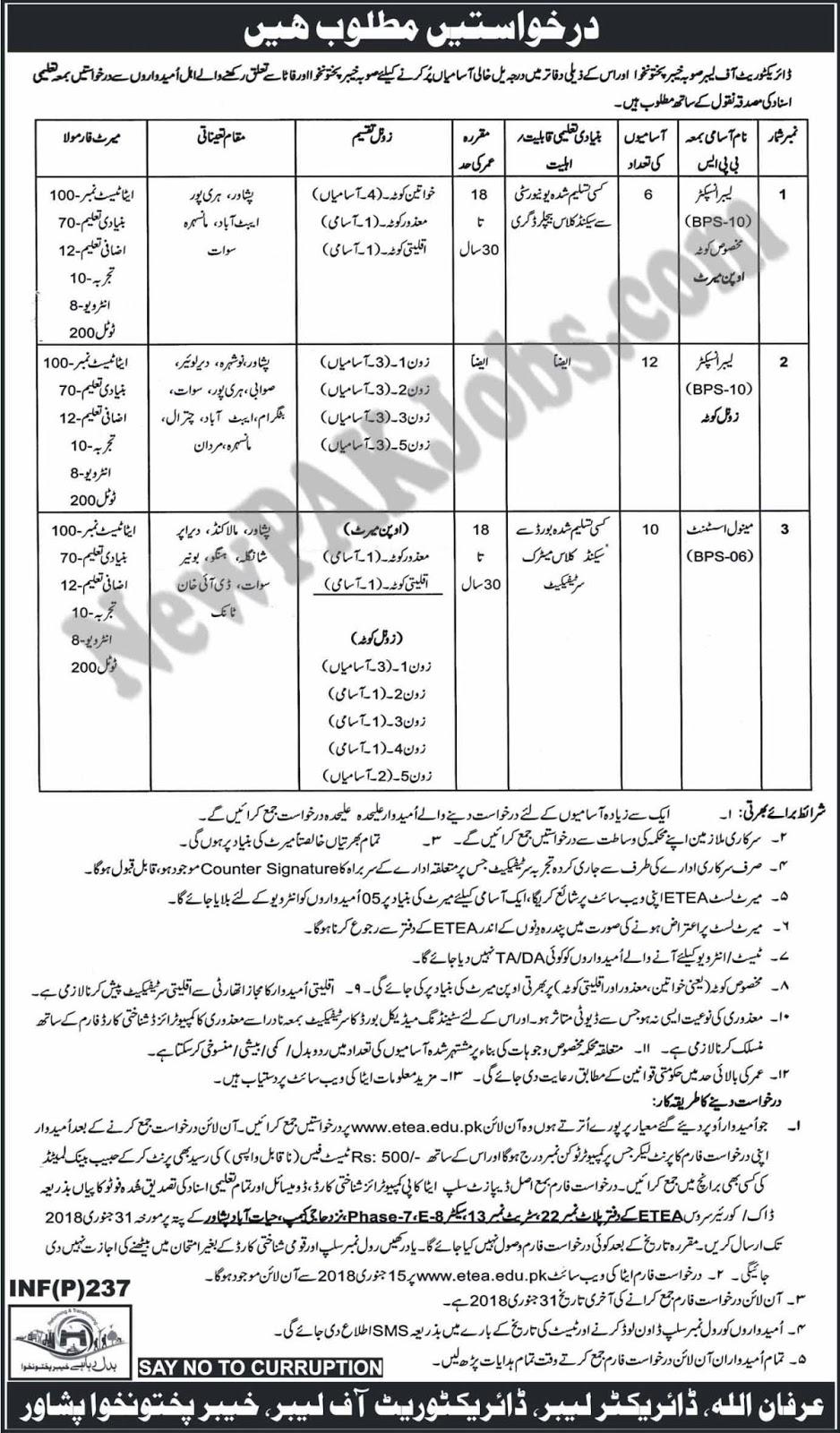ETEA Jobs in Directorate of Labor Khyber Pakhtunkhwa 2018