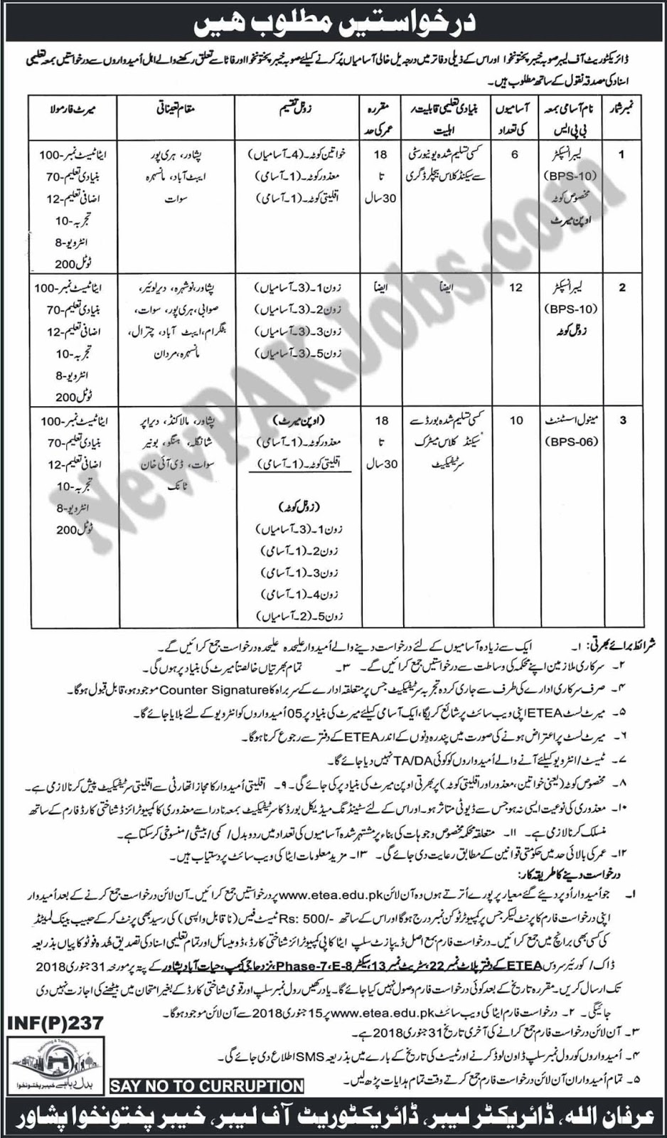 ETEA Jobs in Directorate of Labor Khyber Pakhtunkhwa 2018