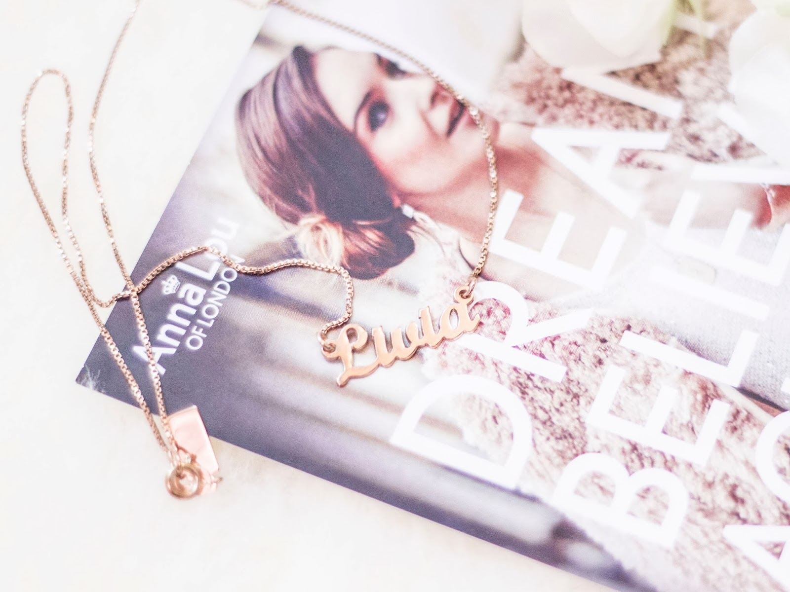 2d968fa2115a87 Anna Lou of London Rose Gold Name Necklace | The Skin and Beauty Blog