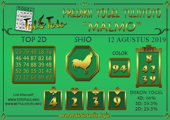 Prediksi Togel MALMO TULISTOTO 12 AGUSTUS 2019