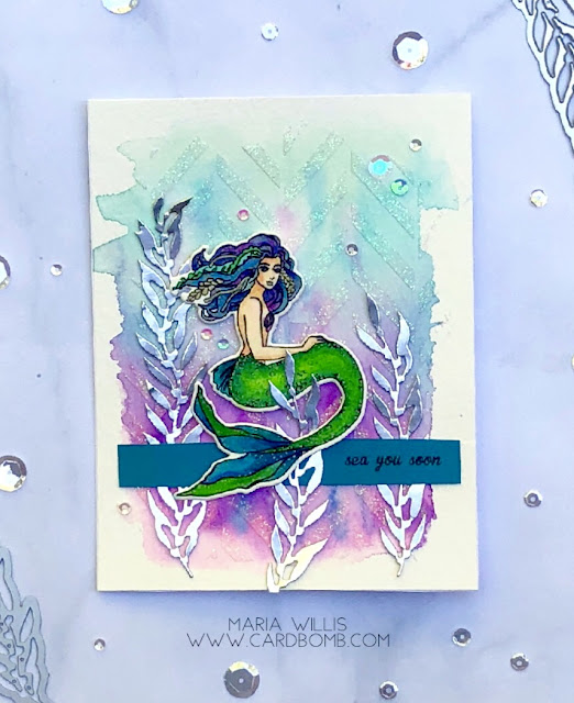 #cardbomb, #mariawillis, #heroarts, #ablognamedhero, #cards, #watercolor, #art, #create, #emboss, #mermaid, #copics, #paper, #stamp, #ink, #papercraft,