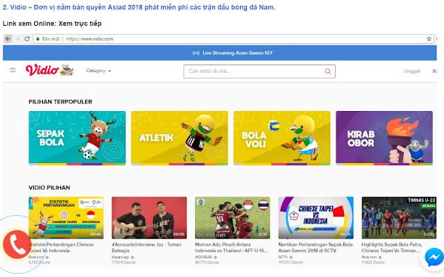 Xem trực tiếp giải Asiad 2018 trên Laptop và điện thoại smartphone qua website Vidio