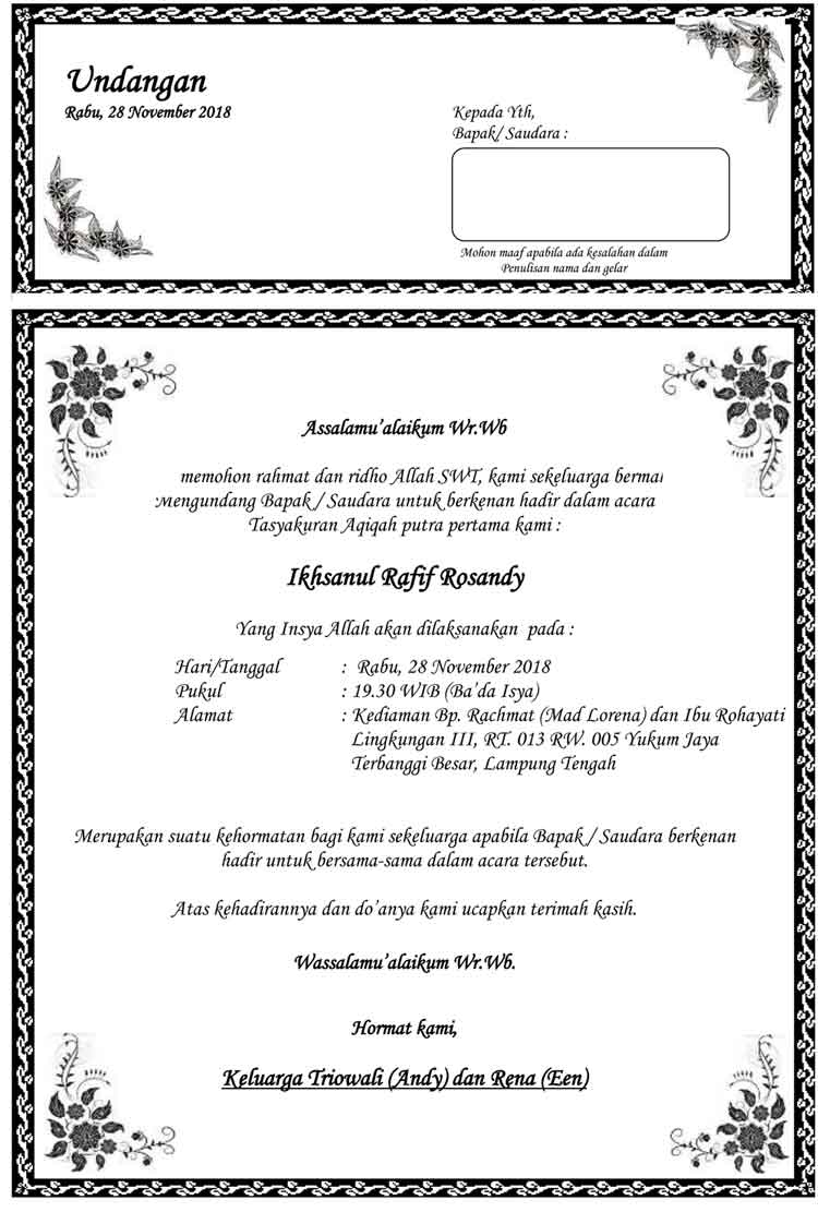 16+ Contoh surat aqiqah word terbaru yang baik