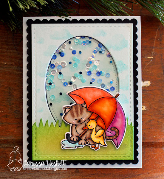 Newton's Nook Designs & Therm O Web Inspiration Week | Umbrella Kitty card by Larissa Heskett | Newton's Rainy Day Stamp Set by Newton's Nook Designs #newtonsnook #thermoweb