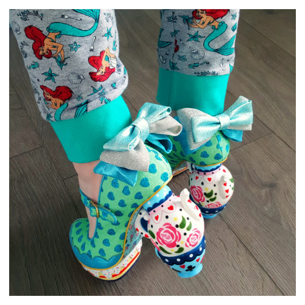 wearing irregular choice alice my cup of tea blue shoes