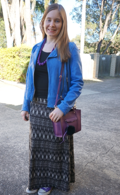 printed maxi skirt, cobalt leather jacket adding colour to monochrome winter outfit | AwayFromBlue