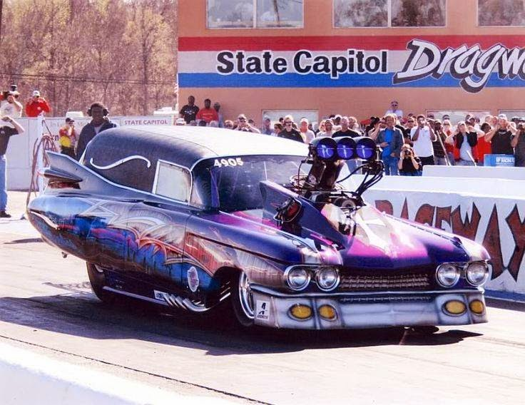 Just A Car Guy: drag racing Caddy hearse, 2007, wet track