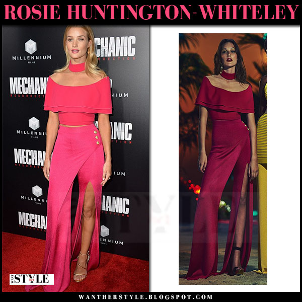 Rosie Huntington-Whieley in hot pink off shoulder top and slit trousers balmain red carpet