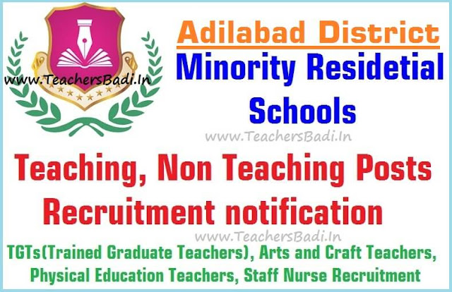 Teaching,Non Teaching posts 2016,Adilabad Minority Residential Schools