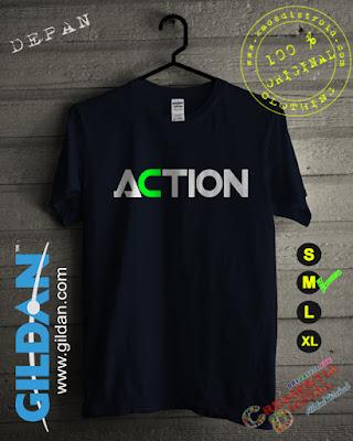 Baju Kaos DISTRO Desain ACTION Warna Biru Dongker