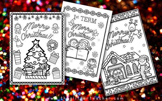 PORTADAS para colorear del primer trimestre con motivos navideños