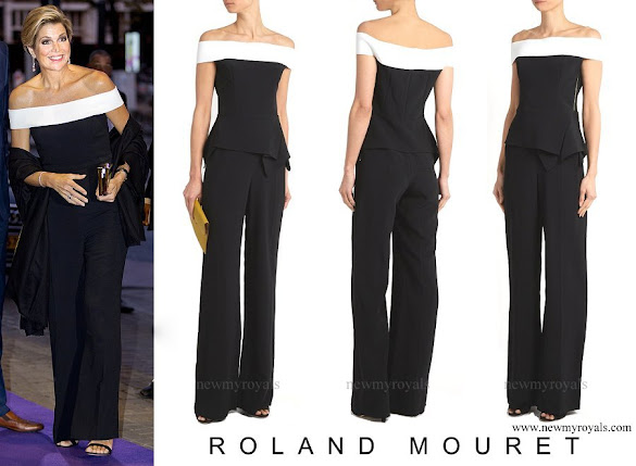 Queen Maxima wore ROLAND MOURET Danielson off-the-shoulder jumpsuit