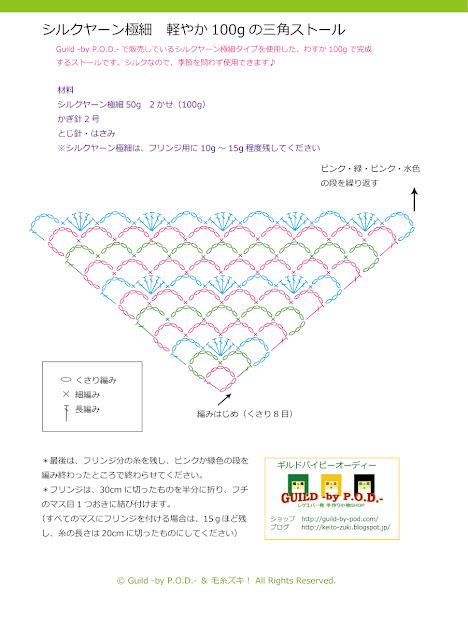 Guild by P.O.D. 三角ストール・ショールの無料編み図