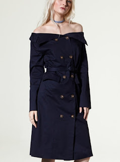 Storets Alana off the shoulder navy blue double breasted trench dress with gold buttons and belt