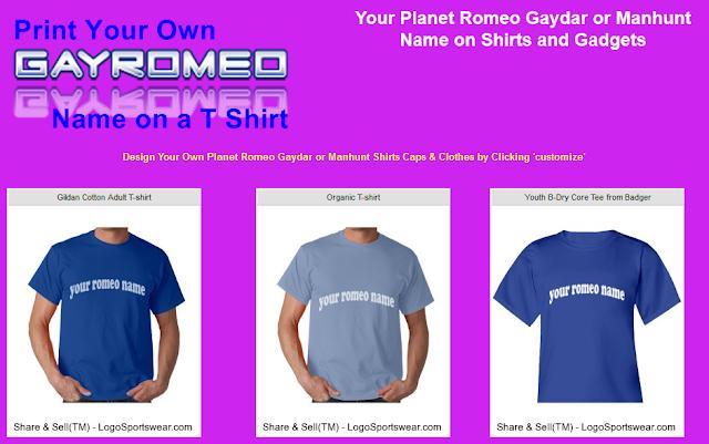 print your own gayromeo name on a shirt