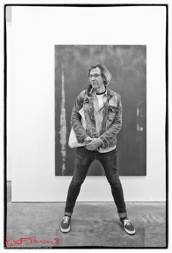 Artist Oliver Wagner at Sarah Cottier Gallery for CHROMA. Photographed by Kent Johnson for Street Fashion Sydney.