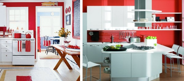 Red and white kitchen 2