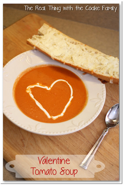 tomato soup in a bowl with heart in soup