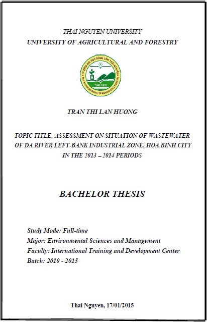 Assessment of wastewater of Da River Left-bank Industrial Zone - Hoa Binh City on the 2013-2014 period