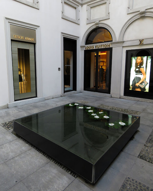Giorgio Armani and Louis Vuitton stores, Palazzo Taverna, Via Montenapoleone, Milan