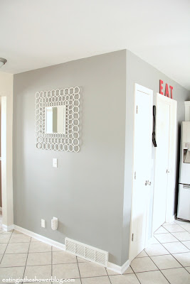 Eating in the Shower kitchen remodel with the perfect gray paint color