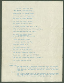 A page of typed verse addressing the Faithful Ten.