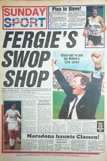 Back page of the UK newspaper Sunday Sport from 8th Feb 87