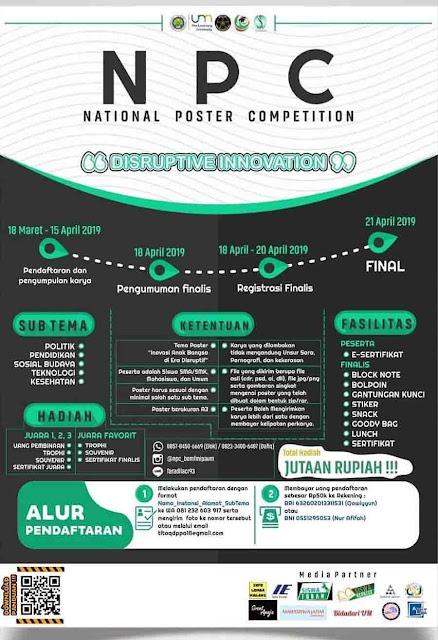 Lomba Desain Poster Competition NPC 2019 Pelajar Mahasiswa & Umum