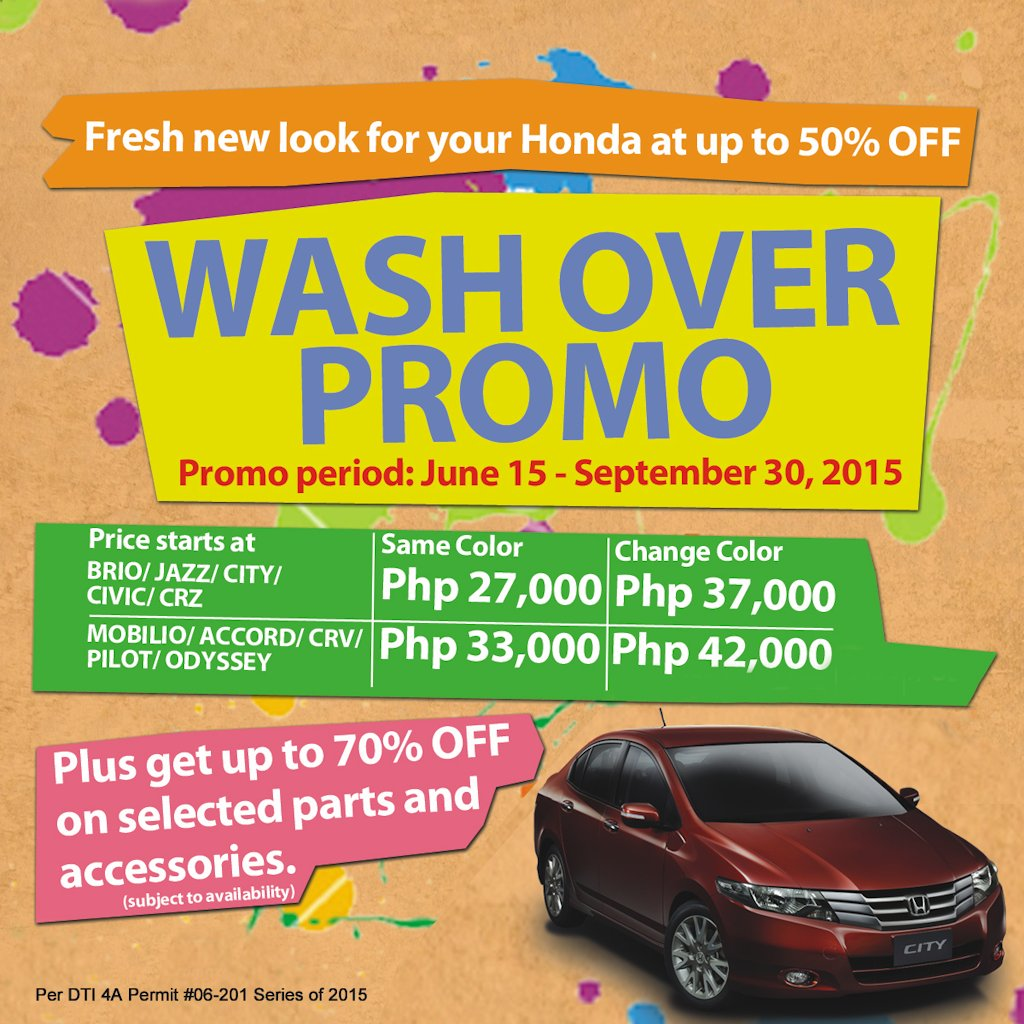 honda offers wash over promo until september 2015 philippine car news car reviews automotive. Black Bedroom Furniture Sets. Home Design Ideas