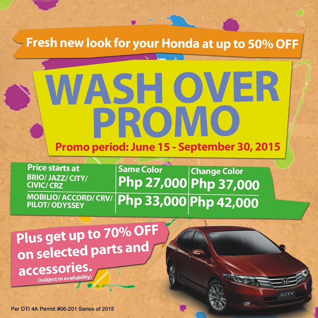 honda offers wash  promo  september  philippine car news car reviews automotive